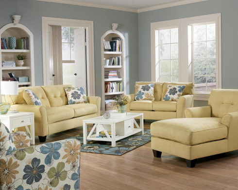 Ashley kylee goldenrod living room set masters buy or lease for Ashley kylee chaise lounge