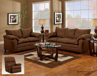 Flat Suede Buff Sofa Set