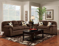 Flat Suede Chocolate Sofa Set