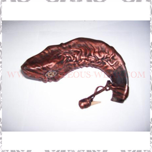 Leather Covered Rams Horn Shofar for Anointing