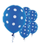 "11"" Royal Blue Polka Dots Latex Balloon"