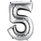 "35"" Decorator Number 5 Balloon - Silver P50"
