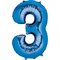 "35"" Decorator Number 3 Balloon - Blue P50"