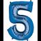 "35"" Decorator Number 5 Balloon - Blue P50"