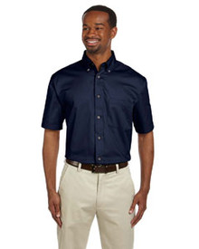 Harriton Men's Easy Blend Short-Sleeve Twill Shirt with Stain-Release
