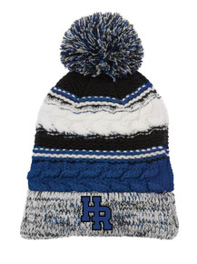 Beanie - Royal & Black  Pom Pom  with embroidered HR
