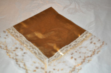 Golden Beauty Satin Lap Scarf with White & Gold Lace