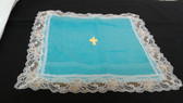 Turquoise Terrycloth with White/Silver Lace and Gold Cross