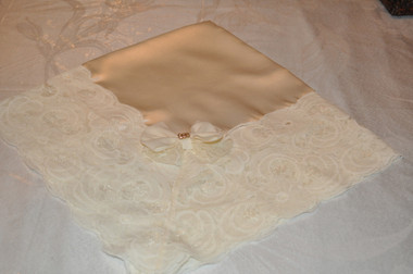 Whipped Cream Satin Lap Scarf with Deep Cream Lace and Bow