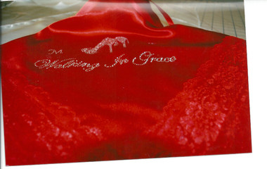 "Red Satin Lap Scarf ""Walking in Grace"""