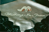 "Gray Satin Lap Scarf with Black Lace ""Walking In Grace"""
