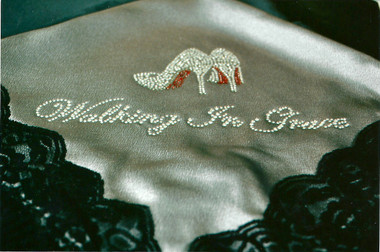 """Gray Satin Lap Scarf with Black Lace """"Walking In Grace"""""""