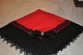 Red Satin Lap Scarf with Deep Black Lace
