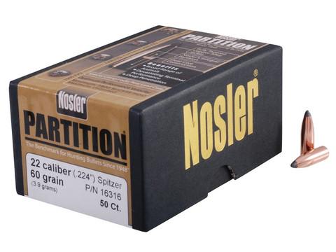 Nosler Partition Bullets 22 Caliber (224 Diameter) 60 Grain Spitzer