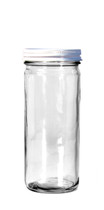 8 oz. Clear Glass Paragon Jar w/White Cap