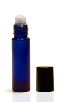 10ML Cobalt Blue Roll-on Bottle w/ Roller Ball, Insert & Black Cap