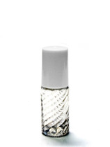 5ML Swirled Clear Glass Roll-on Bottle w/ Roller Ball, Insert & White Cap