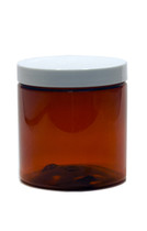 8oz (240ml) Amber Straight Sided PET Jar with White Cap