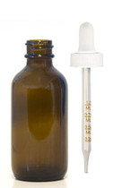 60ML (2oz) Amber Boston Round Bottle W/ White Calibrated Dropper
