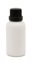 White Ceramic Essential Oil Euro Bottle with Heavy Duty Tamper Evident Cap & Orifice Reducer