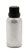 Silver Chrome Coated Glass Essential Oil Euro Bottle with Heavy Duty Tamper Evident Cap & Orifice Reducer