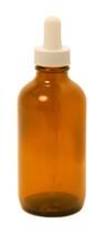 120ml (4 oz) Amber Boston Round glass bottle with White Regular 108mm Dropper
