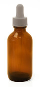 60ML (2 oz) Amber Boston Round Bottles w White Regular Dropper