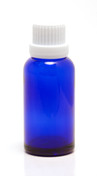 30ML (1oz.) Blue Glass Essential Oil Euro Bottle with White Heavy Duty Tamper Evident Cap & Orifice Reducer