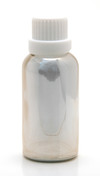 30ML (1oz.) Silver Chrome Coated Glass Essential Oil Euro Bottle with White Heavy Duty Tamper Evident Cap & Orifice Reducer