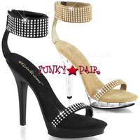 Lip-140, Wide Ankle Cuff Heel with Rhinestone