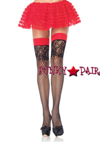 9956, Industrial Net Stocking with Jacquard Lace Top