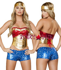 5Wonder Girl Costume includes sequin top, waist cincher, metallic star shorts, and headband5
