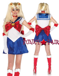 5Sailor Moon costume, includes pleated ress with oversized bows and applique accent, gloves, moon choker, jewel hair clips, and matching head piece5