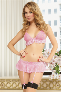 Three piece heart mesh and scallop lace bra, skirt, and thong set. Triangle open cups, satin bow with rhinestone heart, adjustable straps, adjustable hook back closure, skirt with lace waistband, removable garter straps, and thong