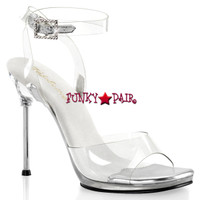 Chic-06, 4.5 Inch High Heel with 1/4 Inch Platform Clear Wrap Around Sandal Made By PLEASER Shoes