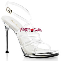 Chic-07, 4.5 Inch High Heel with 1/4 Inch Platform Criss Cross Strappy Sandal Made By PLEASER Shoes