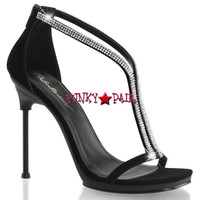 Chic-29, T-Strap Sandal with Split Rhinestones Straps Made By PLEASER Shoes