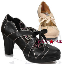 BP303-Maude, 3 Inch pump with Ribbon Tie Made By Bettie Page Shoes