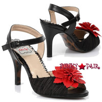 BP350-SHIRLEY, 3.5 Inch Heel Sandal With Flower Made By Bettie Page Shoes