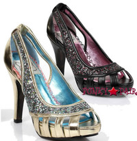 BP414-MARTHA, 4 inch high heel glitter open-toe pump Made By Bettie Page Shoes