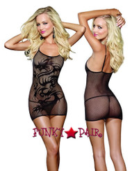 DG-9300* Fishnet Mini Dress with Dragon