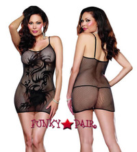 DG-9300X* Fishnet Plus Size Mini Dress with Dragon