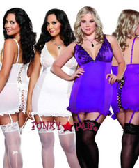 DG-8636X * Perfect Pleasure Embroidered Plus Size Garter Dress