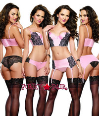 DG-9341, Pretty Pink Bra Garter Set
