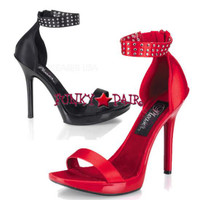 VOGUE-32, 5 Inch High Heel with 3/4 Inch Platform Rhinestone Satin Shoes