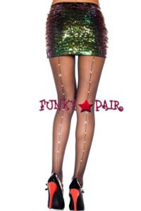 ML-874, Backseam and Faux Rhinestones Pantyhose