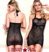 LA86569, Cheetah Net Halter Dress