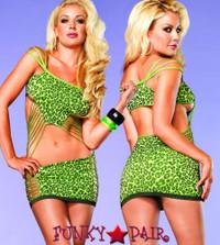 LA86575, Shredded Neon Leopard Dress