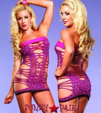 LA86576, Strappy Neon Leopard Dress