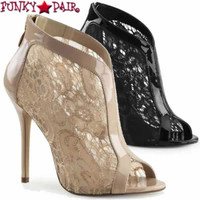 Amuse-48, 5 Inch Stiletto Heel Peep Toe Lace Bootie